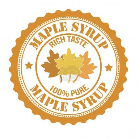 Illustration pour Timbre ou étiquette au sirop d'érable sur blanc, illustration vectorielle - image libre de droit