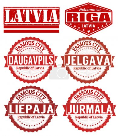Set of grunge rubber stamps with names of Latvia c...