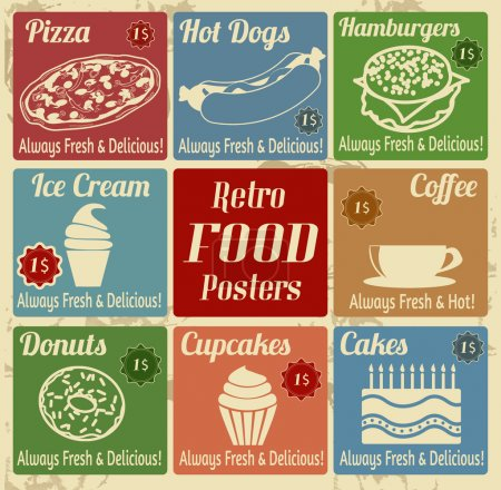 Set of vintage food posters