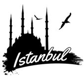 Istanbul in vitage style poster vector illustration