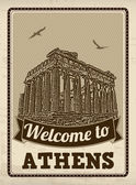 Welcome to Athens in vintage style poster vector illustration