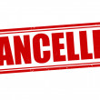 Cancelled grunge rubber stamp on white, vector ill...