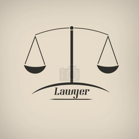 Illustration for Law in vitage style poster with  balance shape icon, vector illustration - Royalty Free Image