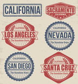Set of California cities stamps on vintage background vector illustration
