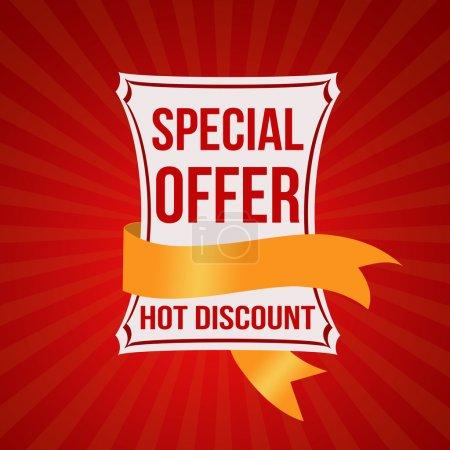 Illustration pour Offre spéciale bannière et ruban sur fond radial rouge texture, illustration vectorielle - image libre de droit