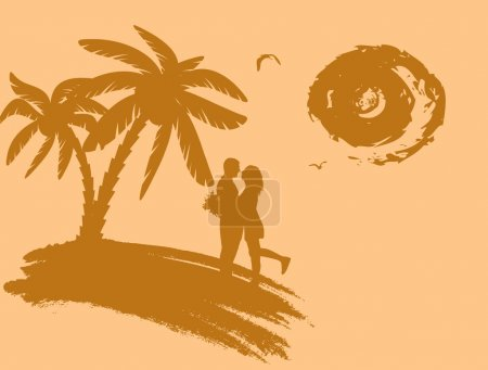 Lovers in a tropical landscape