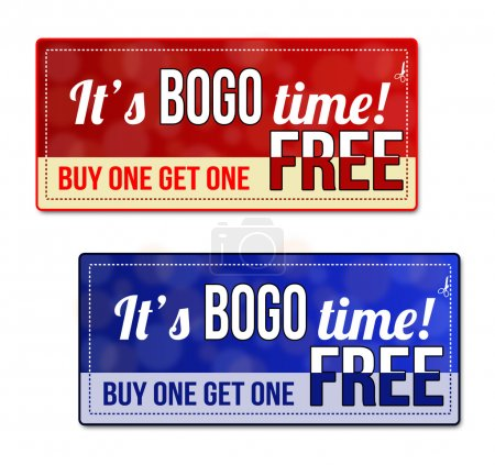 Bogo coupon, voucher, tag