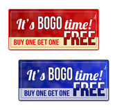 Bogo Buy One Get one Free Sale coupon voucher tag Red and blue template with frame dotted line (dash line) vector illustration