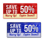 Save up to 50 percent coupon voucher tag