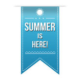 Summer is here banner design over a white background vector illustration