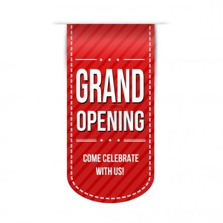 Grand opening banner design over a white backgroun...
