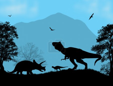 Dinosaurs Silhouettes  in beautiful place