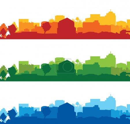 Illustration pour Ensemble de paysages urbains - image libre de droit