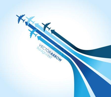 Illustration pour Quatre avions bleus - image libre de droit