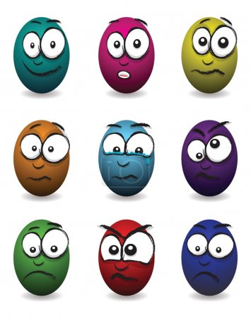 Cartoon coloured egg faces