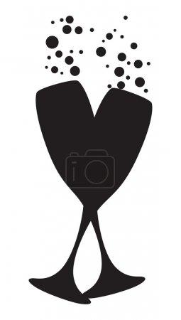 Illustration pour Verres à champagne noir et blanc avec bulles - image libre de droit