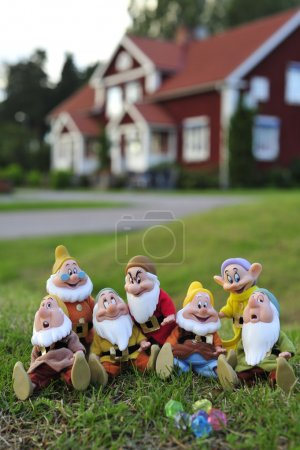 Seven Dwarfs on the lawn on a background house