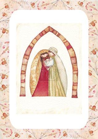 Photo pour Jésus christ, joseph, Marie, aquarelle - image libre de droit