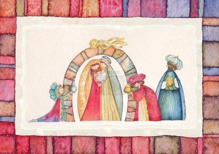 Photo pour Crèche de Noël. Jésus, Marie, joseph et les trois rois. - image libre de droit