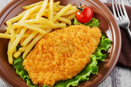 Breaded chicken schnitzel fries