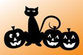 Halloween Black Cat with Pumpkins