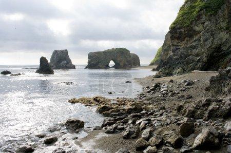 Whimsical rocky on headland Velikan, island Sakhalin, Russia