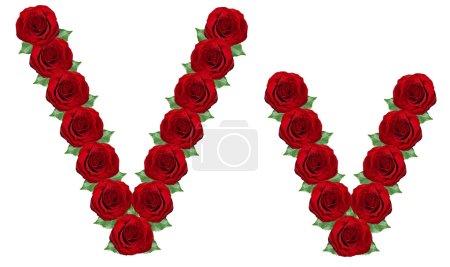 Alfabeto hecho de rosas rojas y hojas verdes