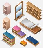 Set of furniture isometric detailed interior isometric series interior elements series
