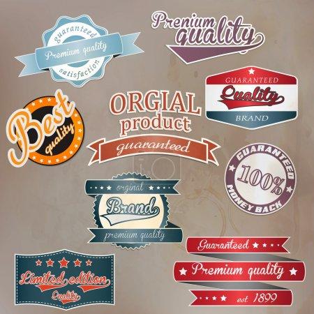 Ilustración de Conjunto de placa retro y etiquetas. Vector - Imagen libre de derechos