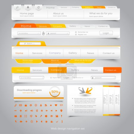 Illustration pour Ensemble de navigation Web design. Vector - image libre de droit