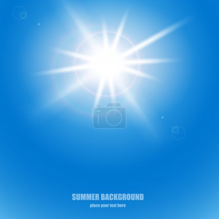 Illustration for The sun in the blue sky. Vector - Royalty Free Image