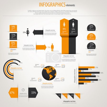 Illustration for Retro infographics set. World Map and Information Graphics. Vector - Royalty Free Image