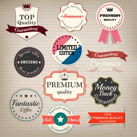 Set of stickers and ribbons. Vector
