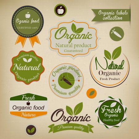 Illustration for Retro styled Organic Food labels.Vector - Royalty Free Image