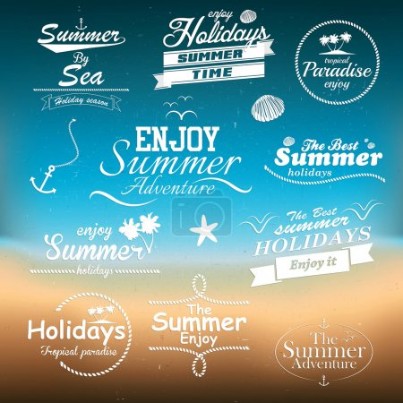 Illustration for Vintage summer typography design with labels - Royalty Free Image