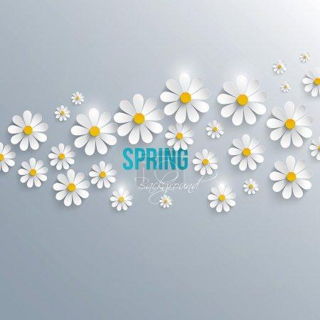 Illustration pour Fond printanier abstrait avec des fleurs en papier. Vecteur - image libre de droit