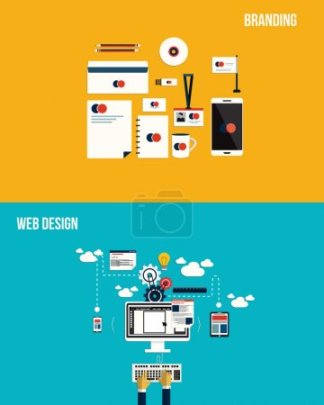 Icons for Branding and web design. Flat style. Vector