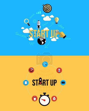 Icons for Start up. Flat style