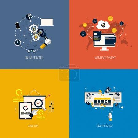 Illustration pour Services limitefixéepour icônes, développement web, analyse et payer par clic. plat style. Vector - image libre de droit