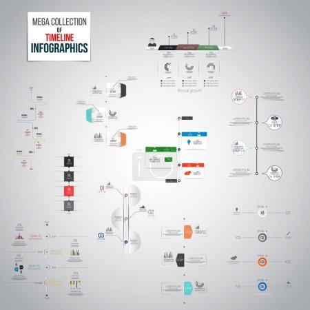 Illustration pour Mega Collection of Timeline Objets d'infographie. Beaucoup de modèles différents prêts à afficher vos données. Vecteur - image libre de droit