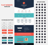 Website interface template- one page and set of buttons and flat icons Modern flat style Vector