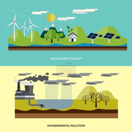 Illustration for Flat design ecology concept with icons of  environment, green energy and pollution. Vecor - Royalty Free Image