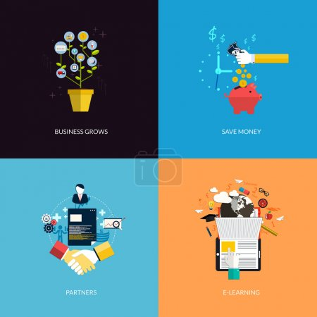 Icons for business grows, save money, partners and e-learning