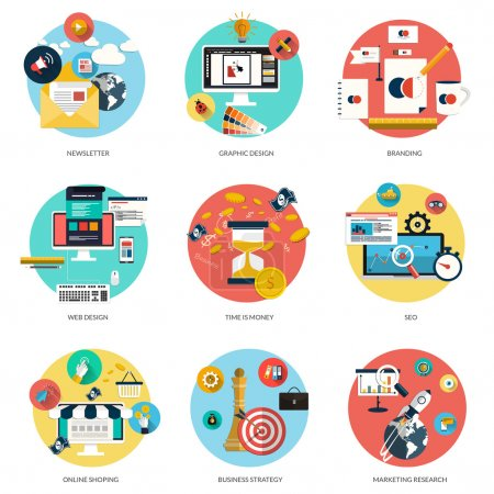 Illustration for Set of flat and colorful concepts on business and newsletter, graphic design, marketing,web design, branding, online shoping and SEO theme and time is money . Design elements for web and mobile applications. Vector - Royalty Free Image
