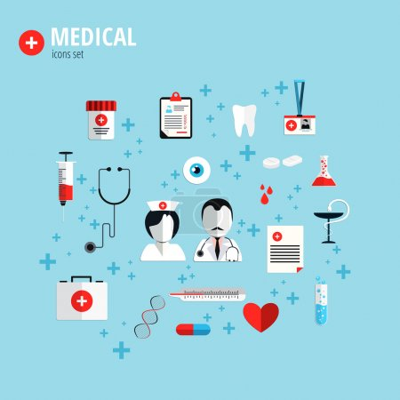 Illustration for Flat design icons for health care, medical services and clinics. Concepts for banner and printed materials.Vector - Royalty Free Image