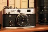 Vinobraní fotoaparát v koženém pouzdře