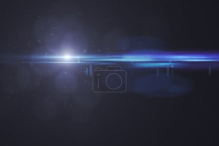 Photo for Digital lens flare on dirty glass, black background horizontal frame cold tone - Royalty Free Image