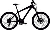 Vector silhouette of hard tail mountain bike with design