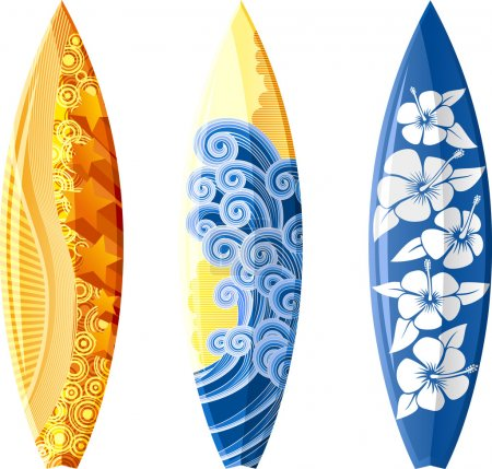 Illustration for Ilustration of surfboards, with design, isolated on white - Royalty Free Image