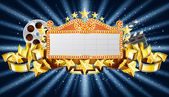 Golden marquee banner with movie clapper and film reel EPS 10